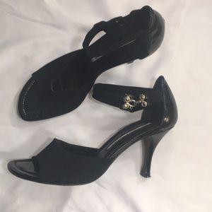 Donald Pliner Ankle Strap Black Patent Heels 6.5 M